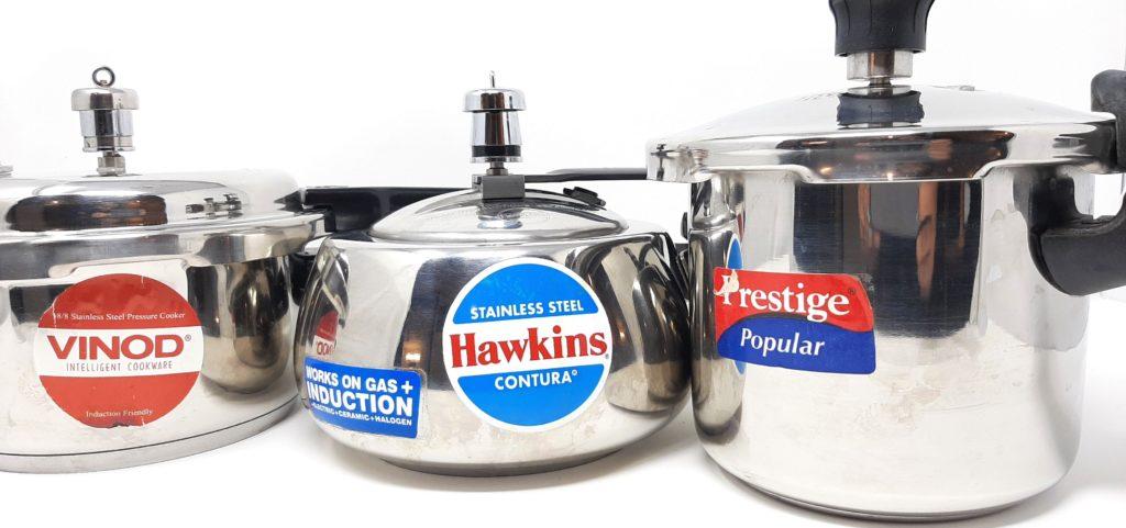 stainless pressure cooker of vinod, hawkins and prestige