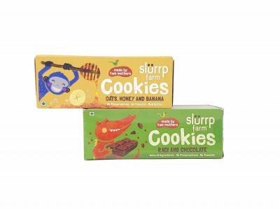 Slurrp farm cookies - ragi chocolate + Oats honey and banana