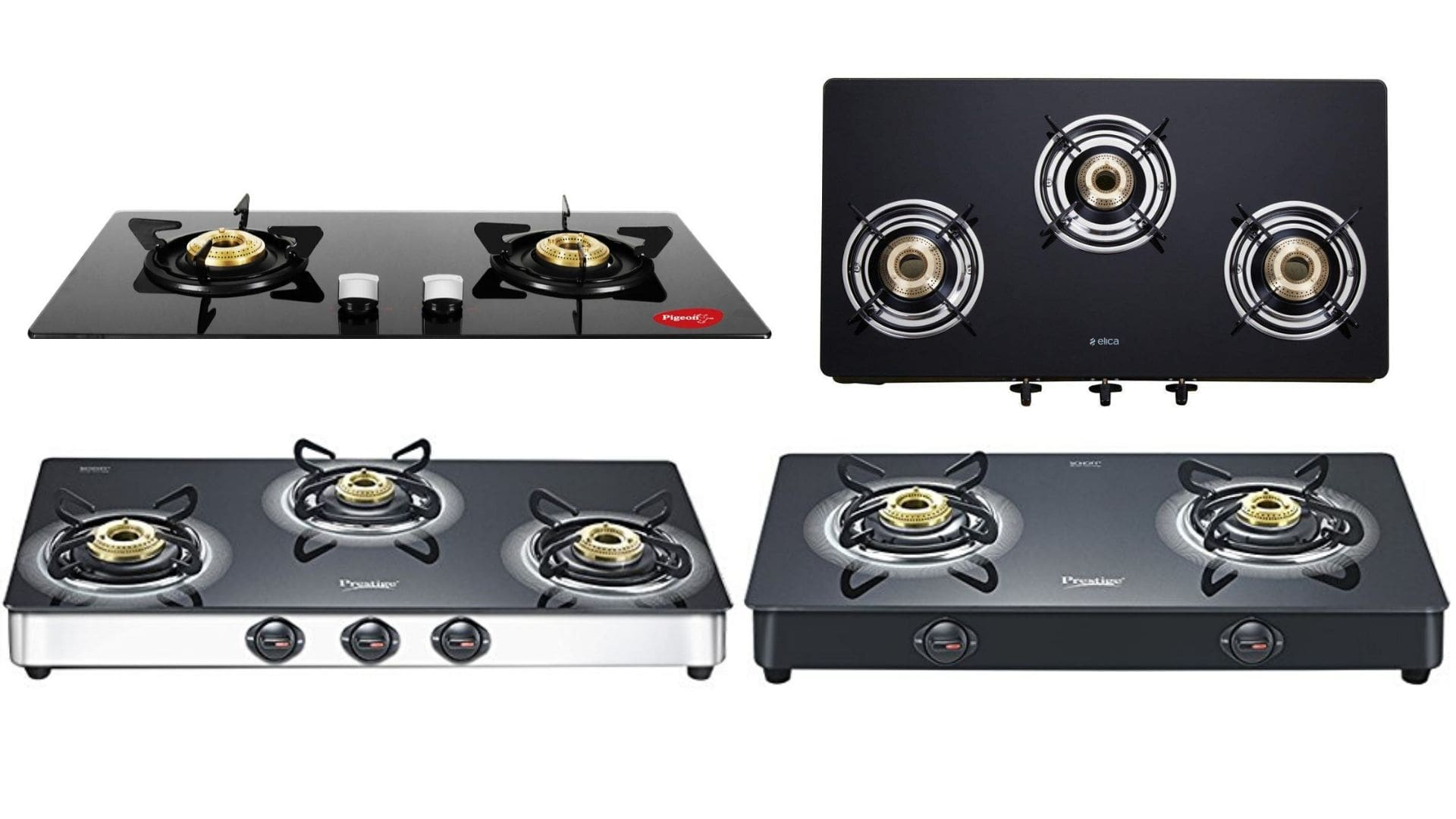 Prestige Infinity 2 Brass Burner LPG Stove 8MM Toughened Glass With Spill Tray