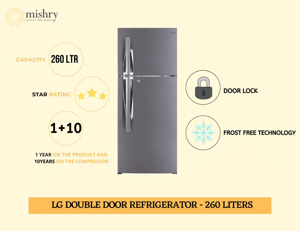 Best LG double door refrigerator 260 liters