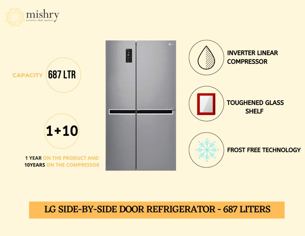 LG side-by-side door refrigerator 687 liters
