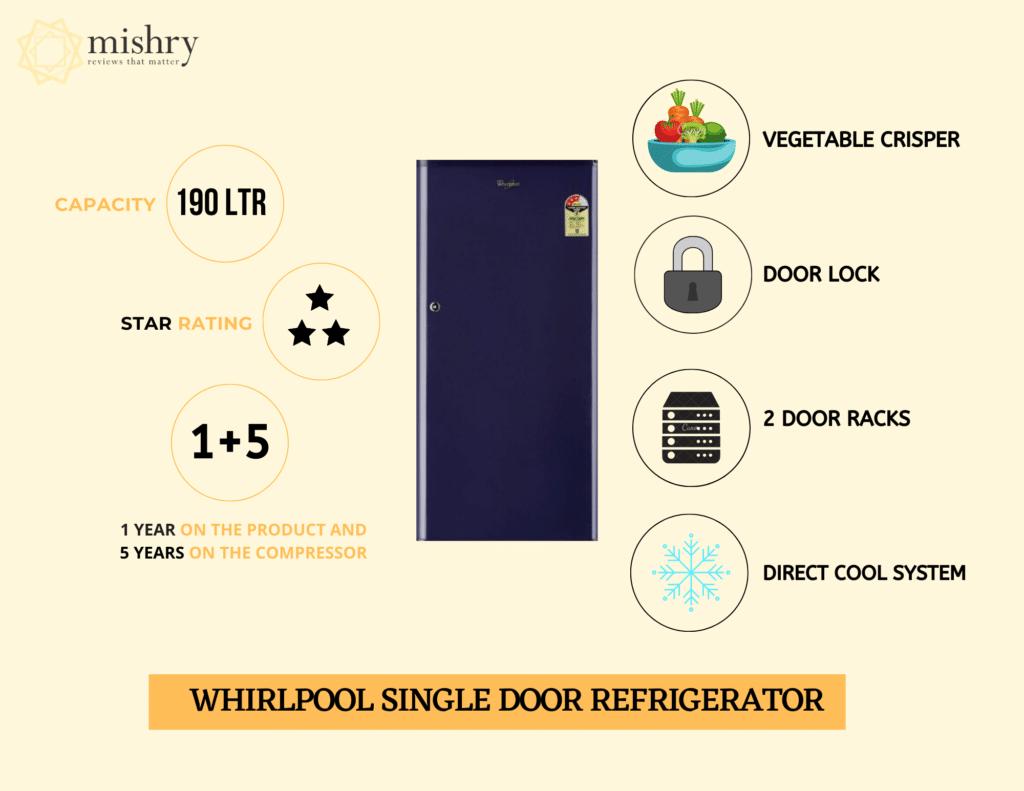 Best Whirlpool Single Door Refrigerator 190 liters
