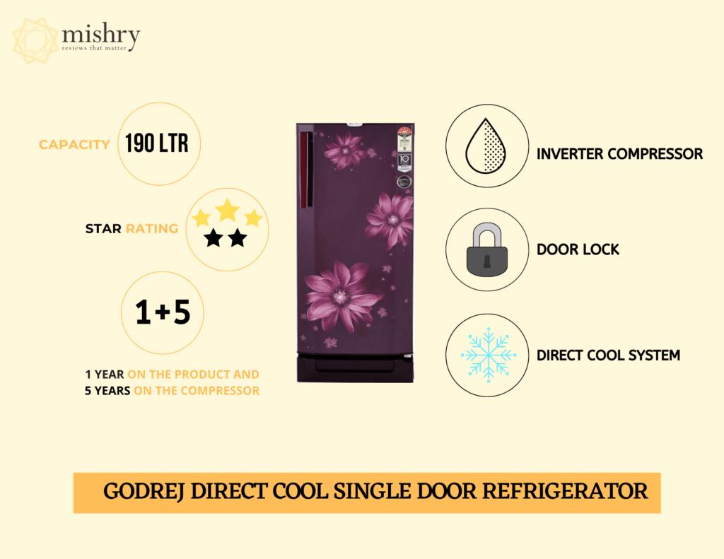Godrej direct cool single door refrigerator 190 liters