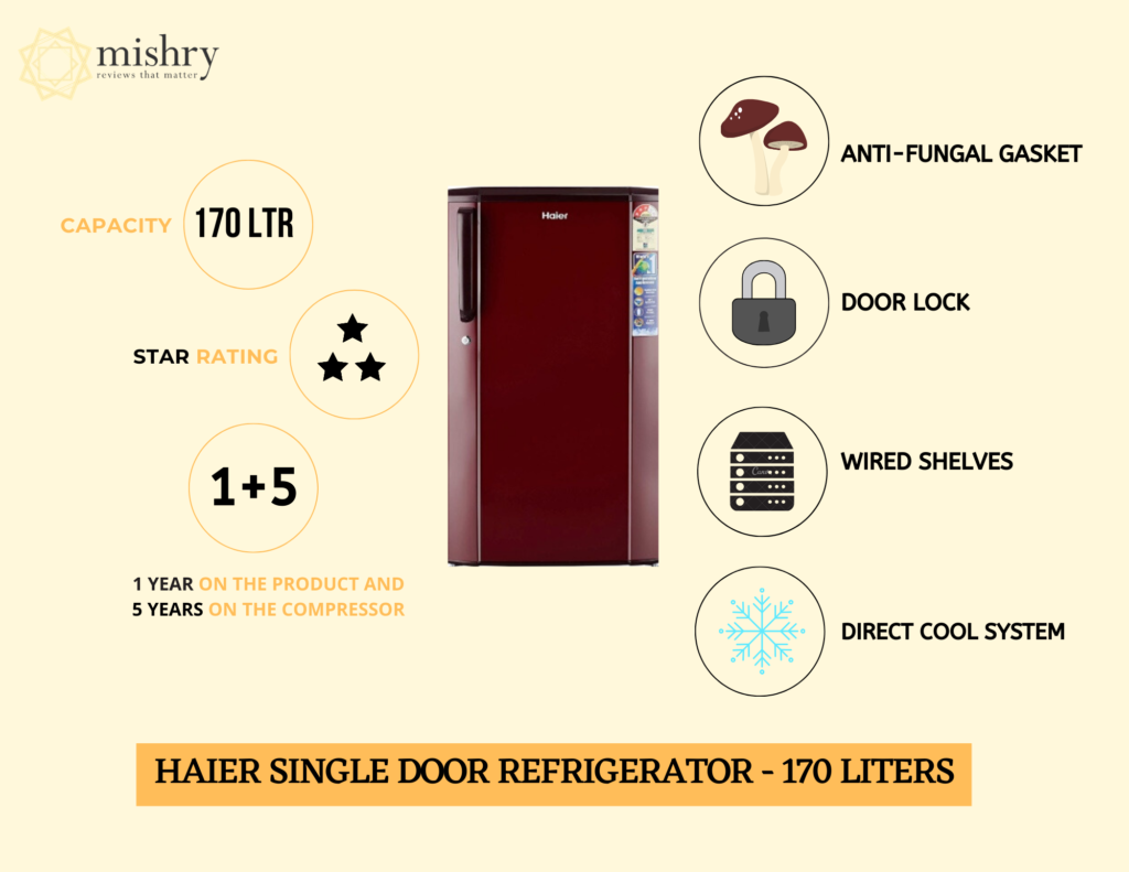 Haier Single Door Refrigerator 170 liters