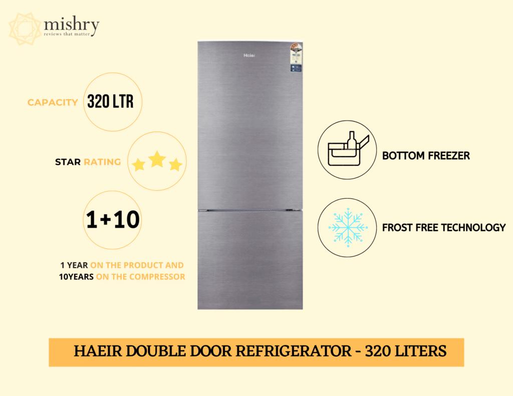 Best Haier double door refrigerator bottom freezer 320 liters