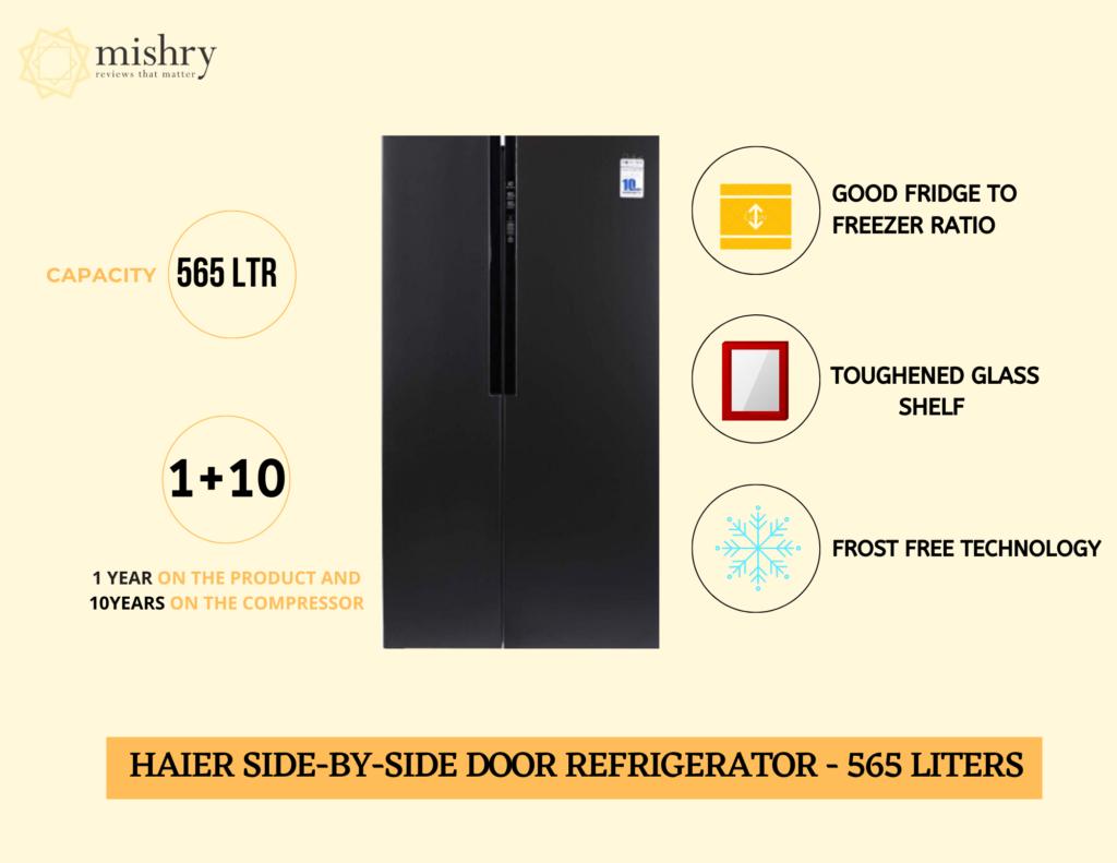 Best side-by-side door refrigerator 565 liters