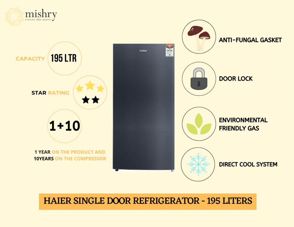 Haier single door refrigerator 195 liters