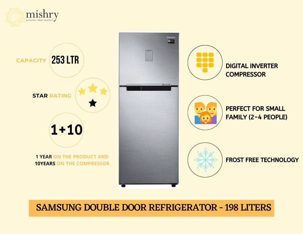 Best Samsung double door refrigerator 253 liters