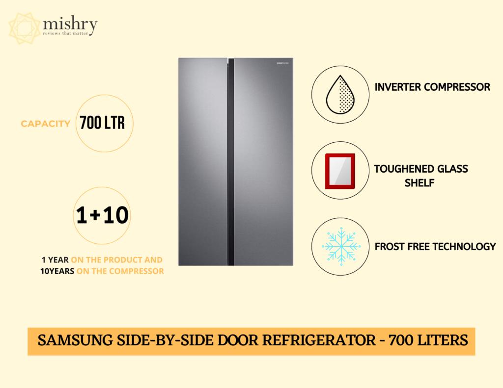 Best Samsung side-by-side door refrigerator 700 liters