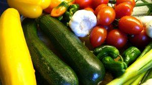 cucumber, chillies, tomatoes, garlic and capsicum