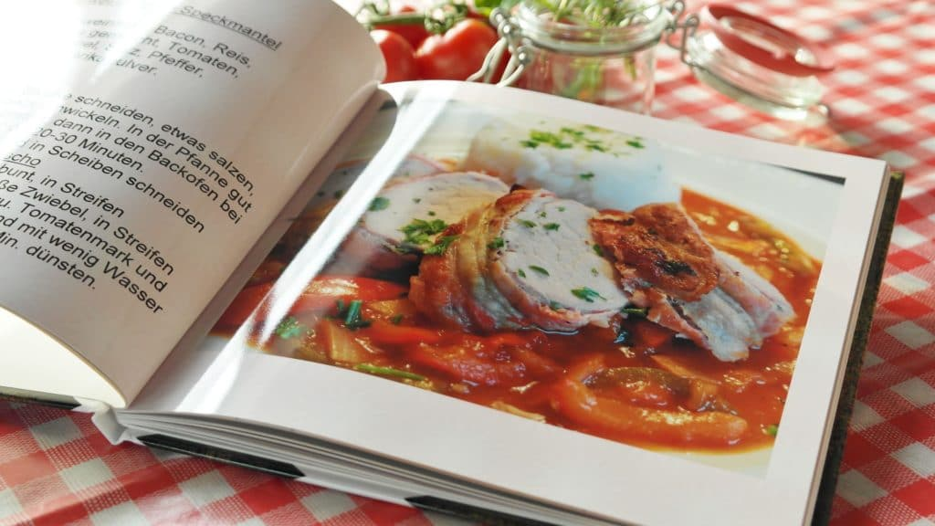 a opened page of a cookbook