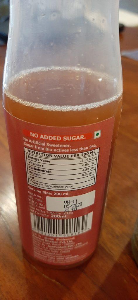 Baidyanath's Kokkum Juice Label