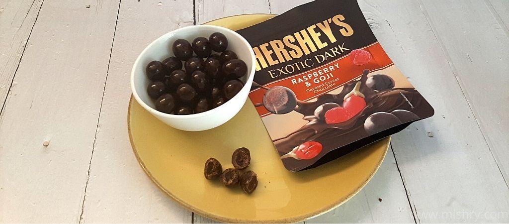 Hershey's exotic dark chocolates raspberry and goji