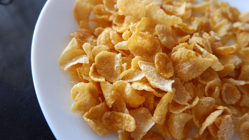 cornflakes in plate
