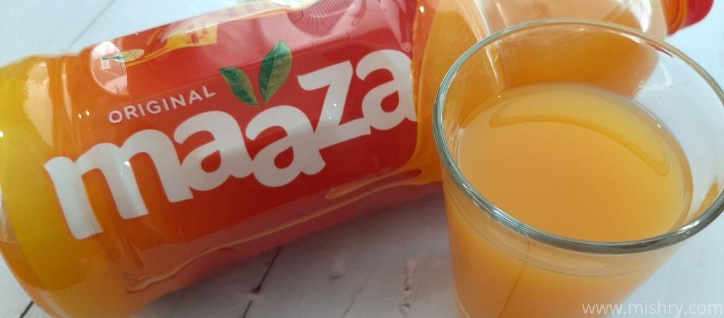 closer look at maaza mango drink