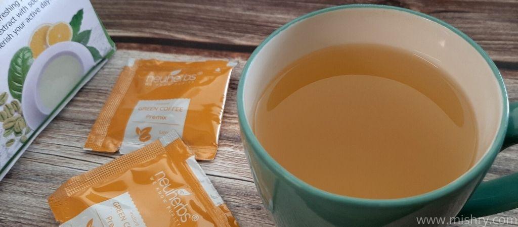 closer look at neuherbs instant green coffee premix