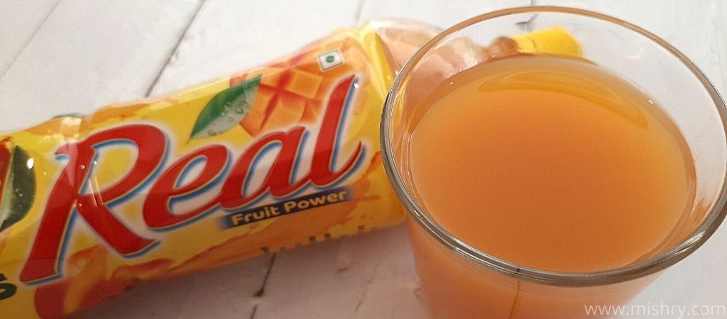 closer look at real mango drink