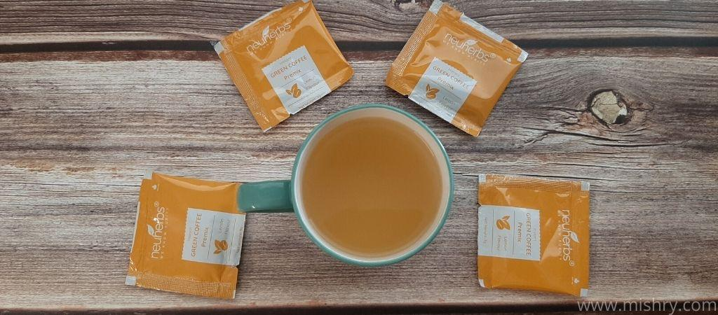 neuherbs instant green coffee premix flavor