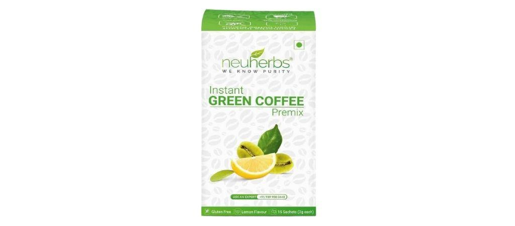 neuherbs instant green coffee premix lemon flavor