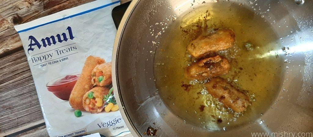 amul veggie stix deep frying process