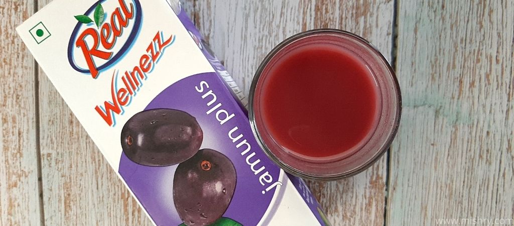 closer look at real wellnezz jamun juice