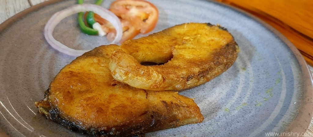 closer look at rohu fish in a plate