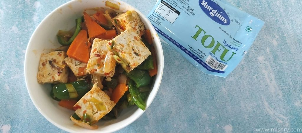 cooked murginns tofu in a bowl