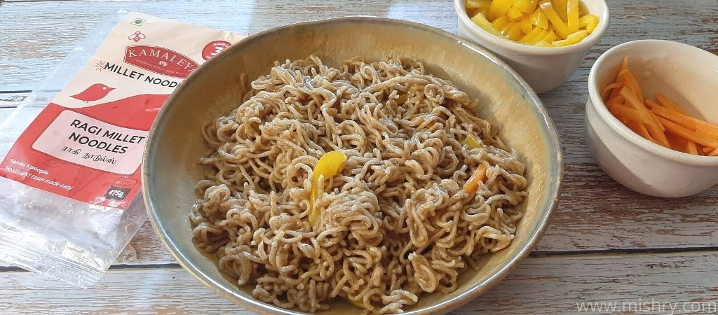 cooked ragi millet noodles in a plate