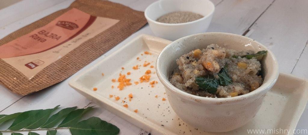 kamaleya bajra rava ready to eat in a bowl