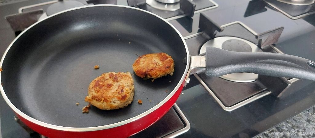 making kebabs on solimo non-stick fry pan