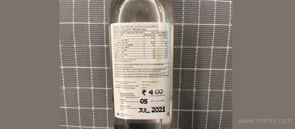 nutritional label of nutndiet virgin coconut oil