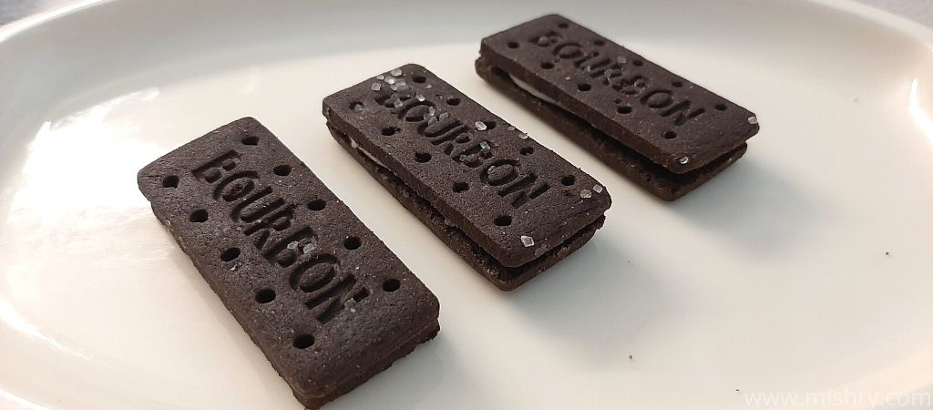 parle black bourbon biscuits in a tray